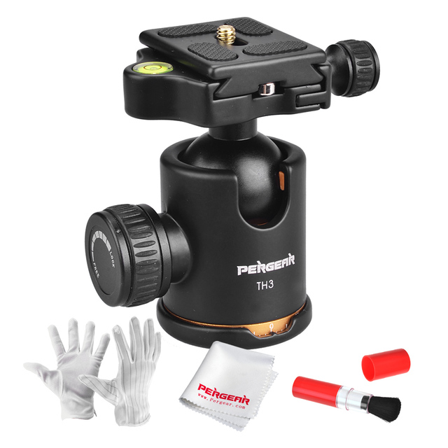 Pergear Load 8kg 360 Degree Rotation Tripod Ball Head Gimbal Head with Quick Release Plate for Tripod + Cleaning Kit as Gift