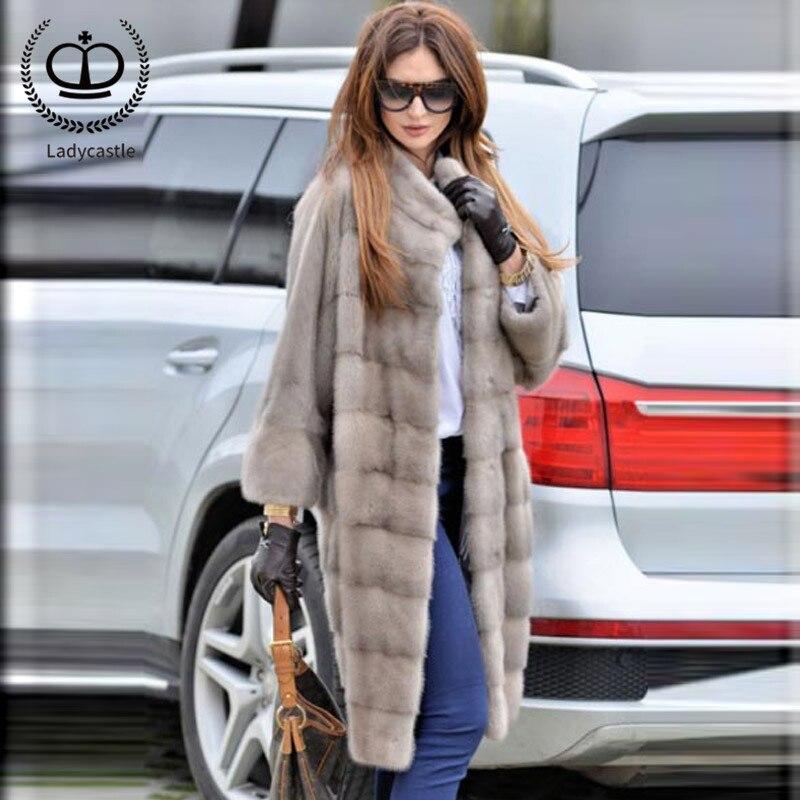 2018 neue Ankunft Echt Nerz Pelzmantel Lange Empfehlen Natürliche Voll Pelt Frauen Real Nerz Jacke Echte Frauen Outwear MKW-119