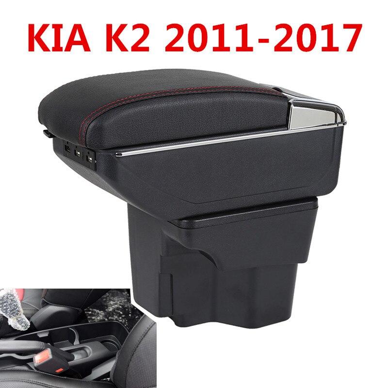 Armlehne Box Für Russland KIA K2 Rio 3 2016 2012 2015 2014 2013 2012 Auto Lagerung USB Organizer Leder Auto tasse Halter Zubehör
