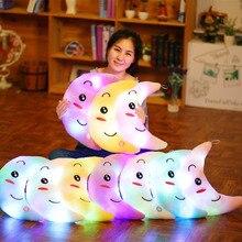 Luminous Moon Pillow Mjuk Plysch Fylld Kudde LED Färgrik Glödande Ljus Kawaii Leende Kudde Doll Leksaker För Flickor Relax Gift