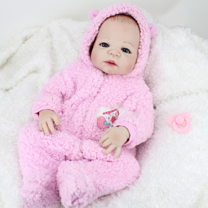 55CM Full Silicone Reborn Baby Doll Girl Brinquedos Lifelike Interactive Baby Dolls Kids Child Brithday gift Early Education Toy