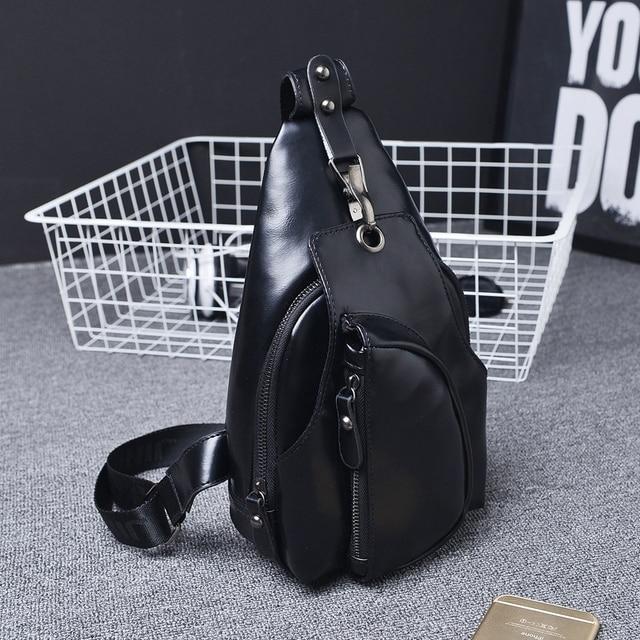Brand Bag Men Chest Pack Single Shoulder Strap Back Bag Leather Travel Men Crossbody Bags Vintage Rucksack Chest Bag
