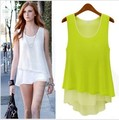 Free Shipping Ladies Summer candy color chiffon Shirt all-match patchwork faux two piece Tank Tops