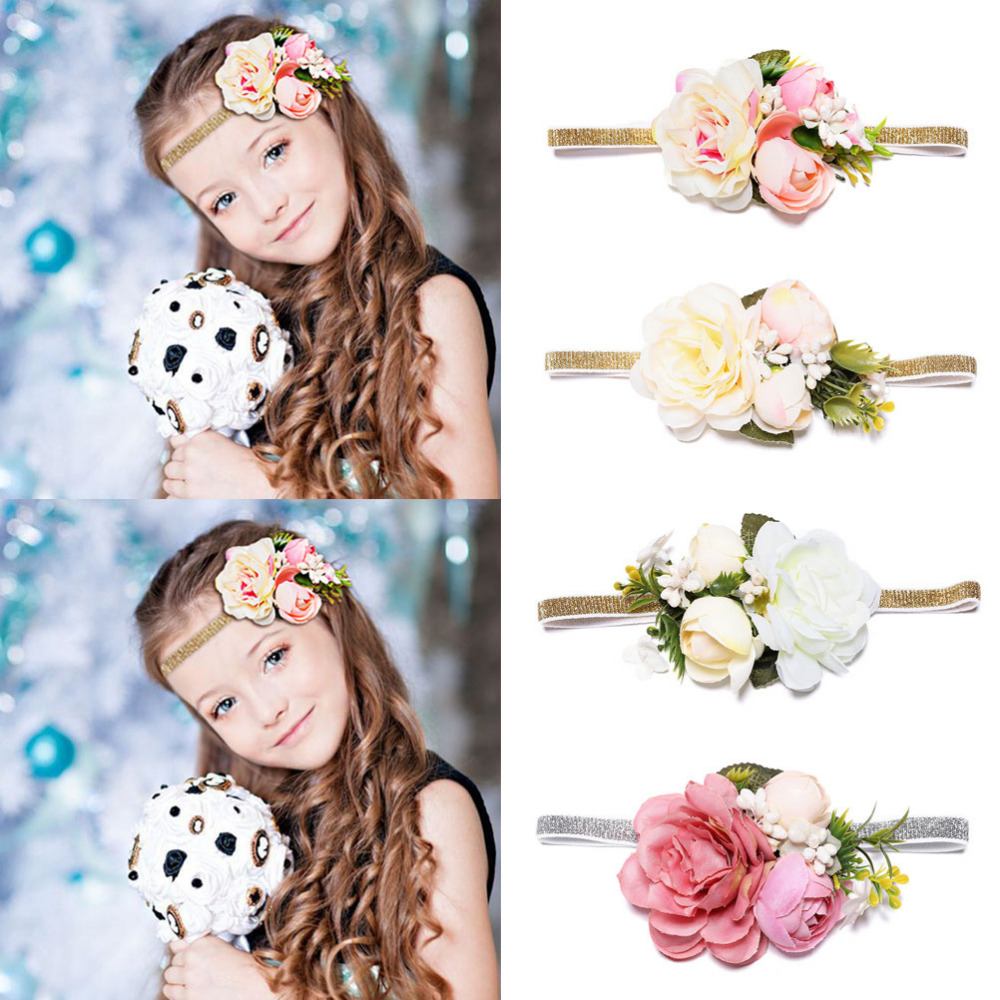 MISM 2019 New Arrival Girls Flower Crown Headband For Wedding Party Hair Band Accessories Princess Tiara Kids Headwear Wianek()