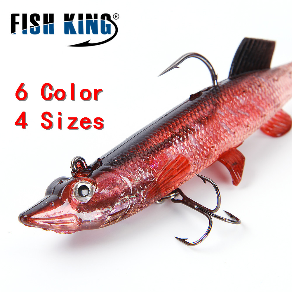 FISH KING 8/10/12/14CM 6 Color Soft 3D Eyes Lead Fishing Lures With T Tail Pike Soft Lure Treble Hook Baits Artificial Bait Jig fishing baits with hook color assorted 5 pack