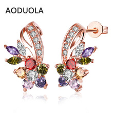 Фотография Rose gold Color Earring Stud Earrings with Colorful & white Cubic zirconia for Women Earring Wedding Party Ear Jewelry gift 2017