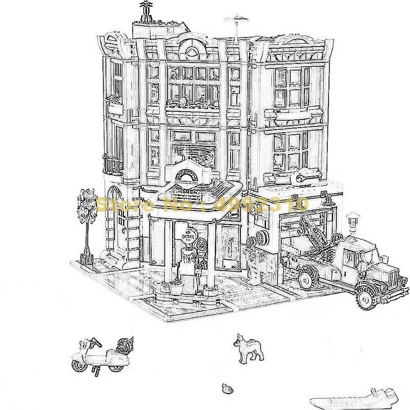 2569pcs 코너 차고 조립 6 피규어 빌딩 블록 10264 벽돌 장난감-에서블록부터 완구 & 취미 의  그룹 1