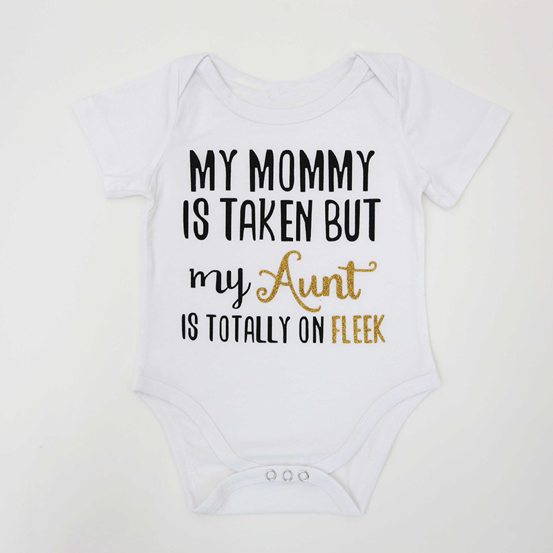 Buying 2018 Summer Cute My Mommy Aunt Letter Print White Short Sleeve Toddler Clothes Onesie Baby Bodysuit Infant Clothing