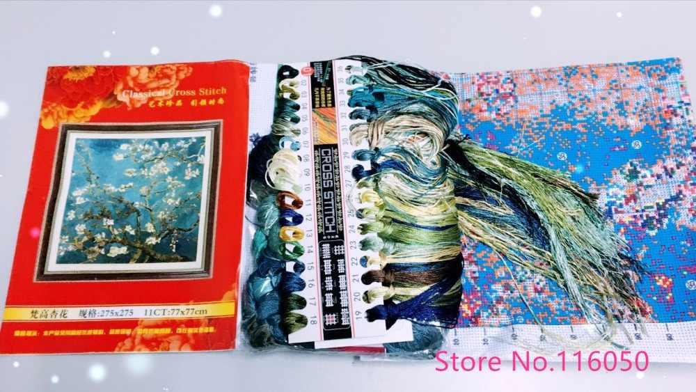 Sulaman DIY Cross Stitch, set Untuk Bordir Kits Van Gogh Klasik Aprikot Bunga Dicetak Pola Cross Stitch Lukisan Hadiah