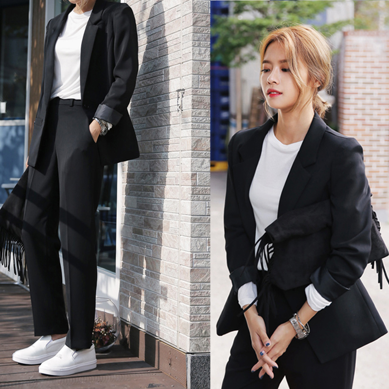 Fashion Suits Women Suits Solid Colors Two-Piece Top + Pants Hot Fashion Spring Autumn Shawl Collar Office Business