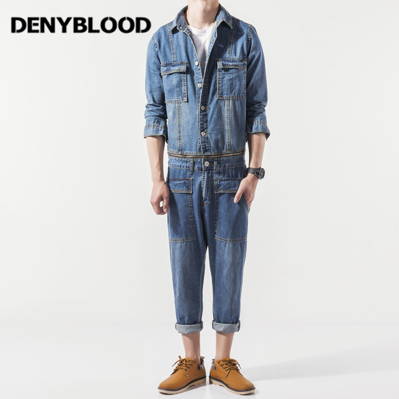 Denyblood Jeans Mens Denim Overalls Jeans Pants Bibs Casual Worker Suit Jumpsuit Man Waist Zipper Close Separtely Jacket 3326 2016 brand mens denim overalls fashion bib jeans skinny overalls for men hole slim black and white suspender pants m xxl