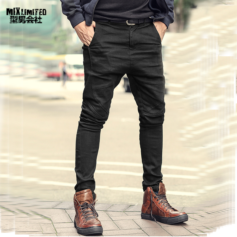 Men Spring Bamboo Stretch Black Slim Bottom Casual Jeans European Style Elasticed New Cotton Zipper Fly Pants Jeans For Men K951