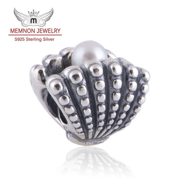 Fits European brand Bracelets DIY Making assessories 925 Sterling Silver Pearl Oyster Charms Memnon Jewelry WHOLESALE LW322