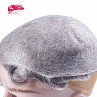 Ali Queen Hair Thin Skin 0.02-0.03mm Mens toupee 8x10inch Hair Replacement Systems Pure Handmade Men Wig Remy Indian Hairpieces
