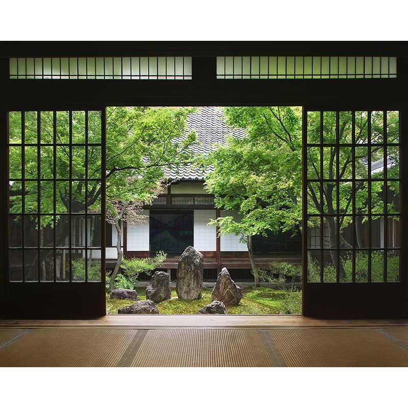 Allenjoy fotografie achtergronden Japan Tatami kamer Washitsu Aziatische stijl rotstuin binnenplaats achtergronden voor fotostudio vinyl