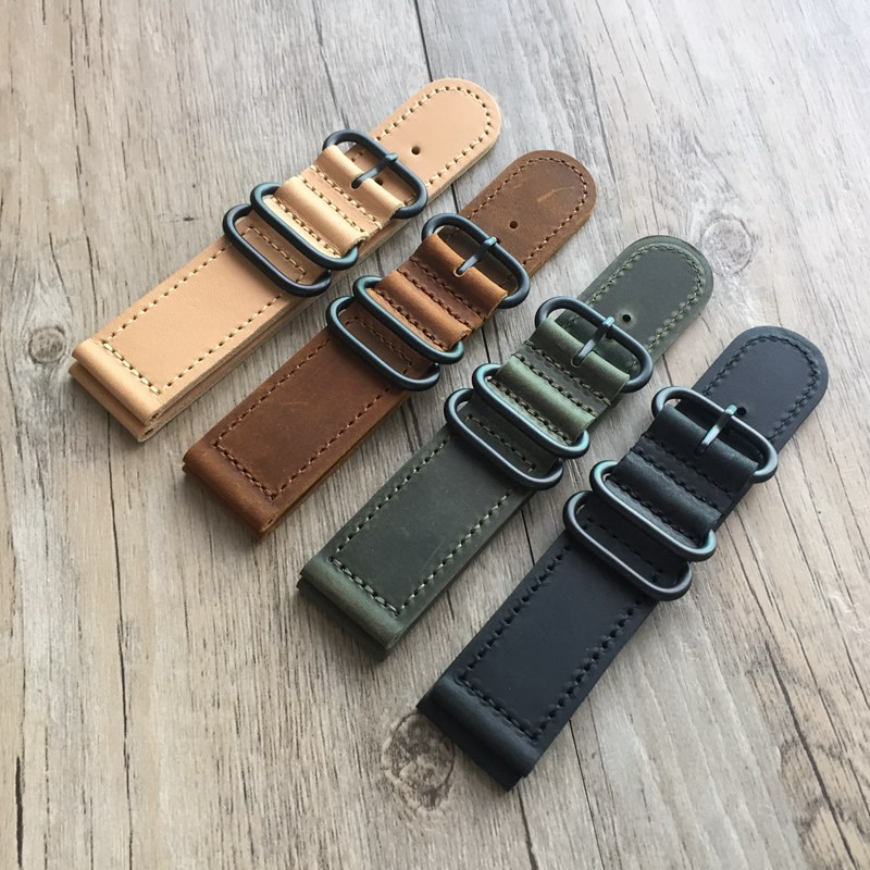 18 20 22 24mm Genuine leather Watchbands Black Army Green Khaki brown personality men  women for Seiko Omega IWC  Strap