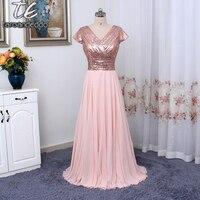 Hot Sale Cap Sleeves V Neck Burgundy Sequin Chiffon Plus Size Bridesmaid Dress Floor Length Long Wedding Party Gowns