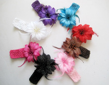 New Style, Flower With Feather girls Hairbands,Girls Feather Headband girlsKnitting Hair Weave,girls Hair Accessiries 12/lot