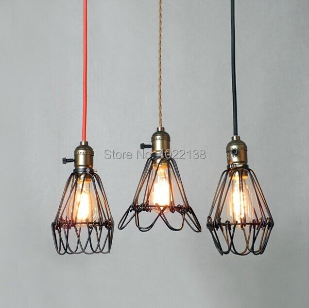 Black cable Unique American Style edison pendant Light Retro Vintae Bird Cage Decoration Pendant Lamp E27/E26 110V/220V 4 color