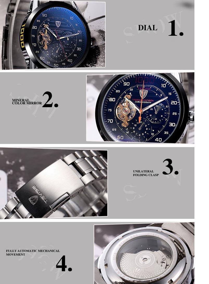 Tevise relógio mecânico moda masculina de luxo
