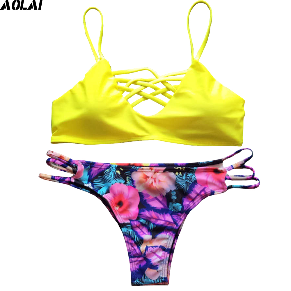 цены  Bandage Bikini 2017 Crop Top Swimwear Women Sexy Brazilian Bikini Set Push Up Swimsuit Straps Bathing Suit Floral Biquini Yellow