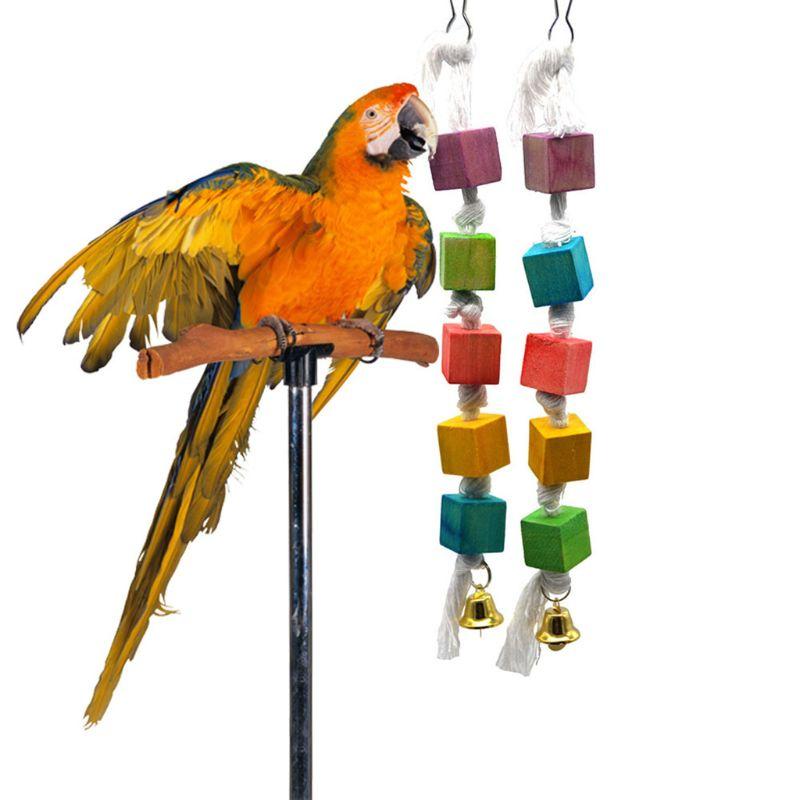 1 Pc Papagei Kauen Spielzeug Vogel Sittich Holz Blöcke Gewinnen Pet Der Aufmerksamkeit Holz Hängen String Spielzeug Vögel Liefert C42