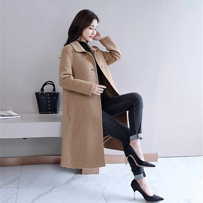 4bb0f2dbb86 ... Woman Coats Winter 2018 Elegant Warm Korean Style Fashion Outwear Long  Wool Coat Plus Size ...