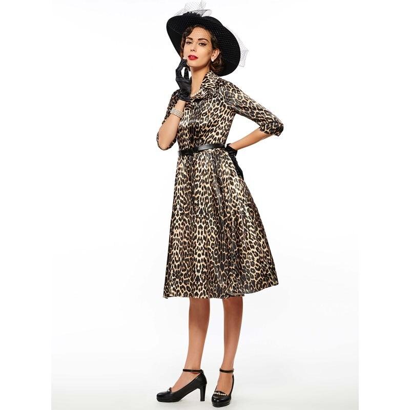 S Robes Robe Parti Rétro Leopard Printemps Swing Ligne Rockabilly Sexy Mode Mince Ceinture Élégant Dames 50 Rue Vintage Une Motifs Léopard Femmes De rOq1PrR