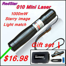 Wholesale prices [RedStar]010A mini Laser Gift set high power 1W green laser pointer starry cap include 16340 battery and charger and plastic box