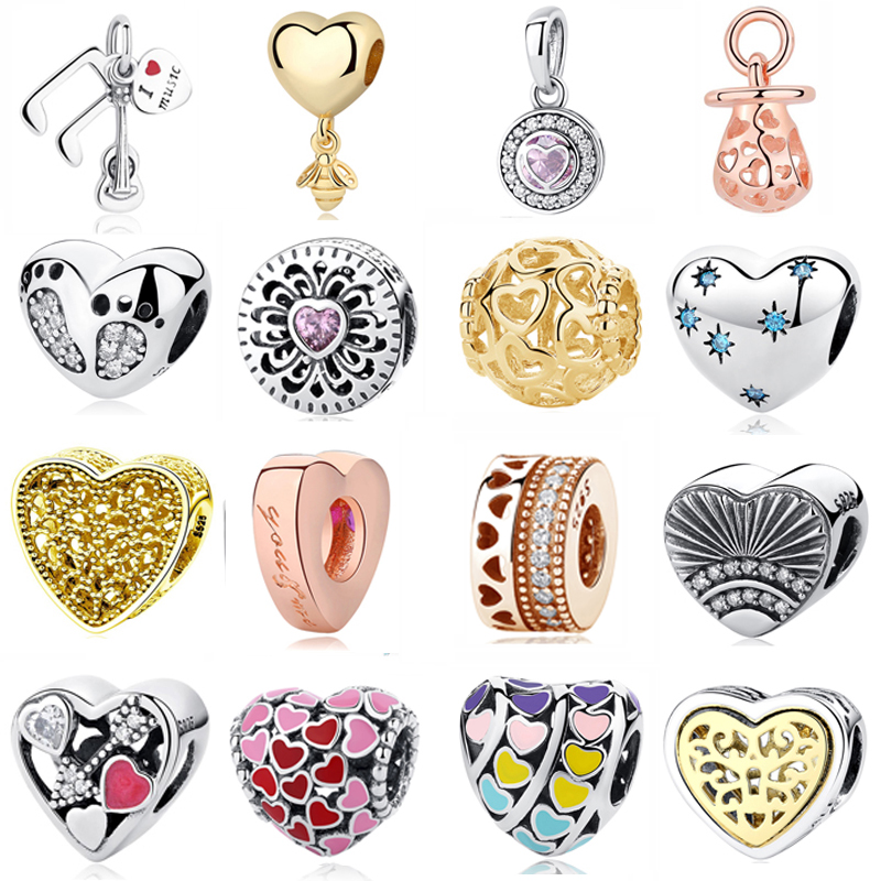 Authentic Original 925 Sterling Silver Bead Charm Glacial Heart Love Crystals Fit Pandora Bracelets & Bangles Women DIY Jewelry|fit pandora bracelet|silver beadsheart beads - AliExpress