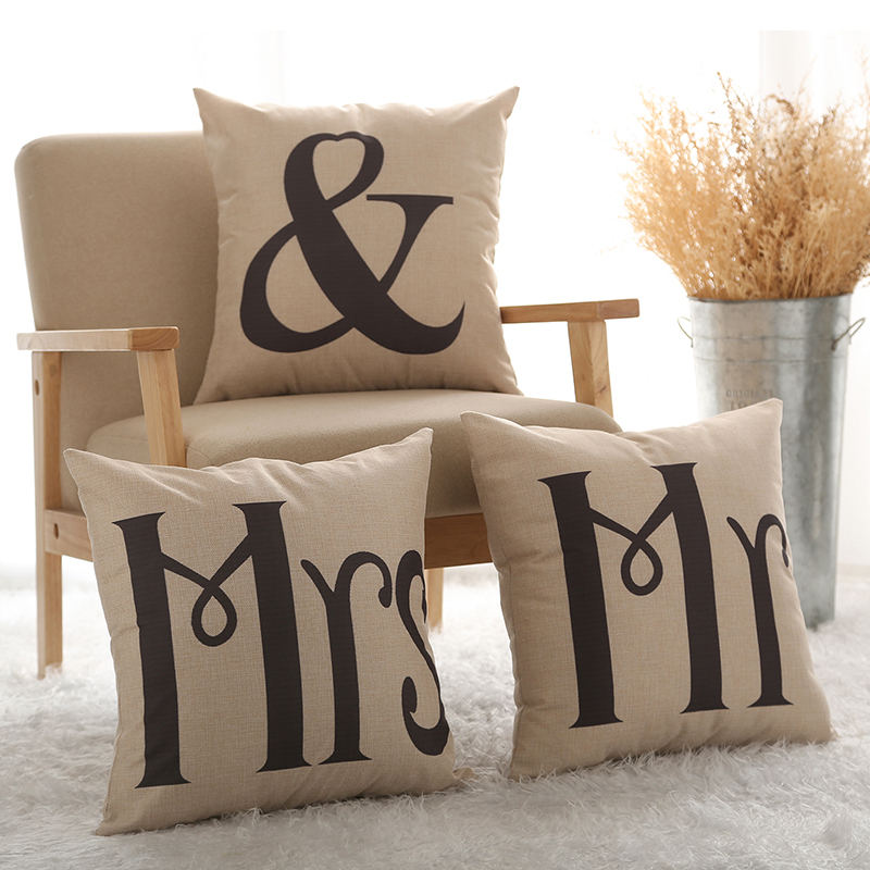 Couples Cotton Linen Mr & Mrs Knitted Cushion Cover