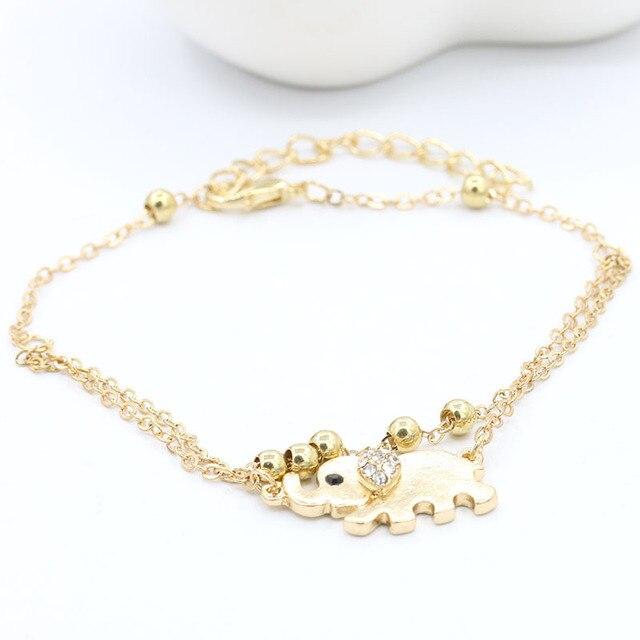 10 Pieces Lot Gold Color Rhinestone Elephant Ankle Bracelet Crystal Anklets Women Double Leg Chain