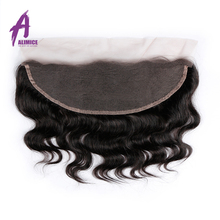 Brazilian Body Wave 13×4 Ear to Ear Lace Frontal Closure Alimice Hair 100% Non-Remy Human Hair 8-20Inch Free Part Natural Color