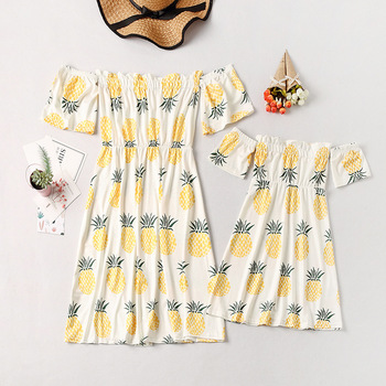 off shoulder mother mom and daughter dresses family matching outfits mommy and me clothes family look floral mum mama baby dress 2