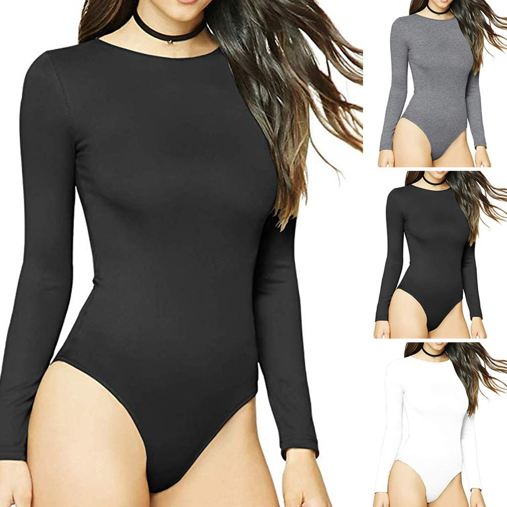 Summer fashion sexy women's round neck long sleeve stretch tights new style ladies   jumpsuits   elegant L0312