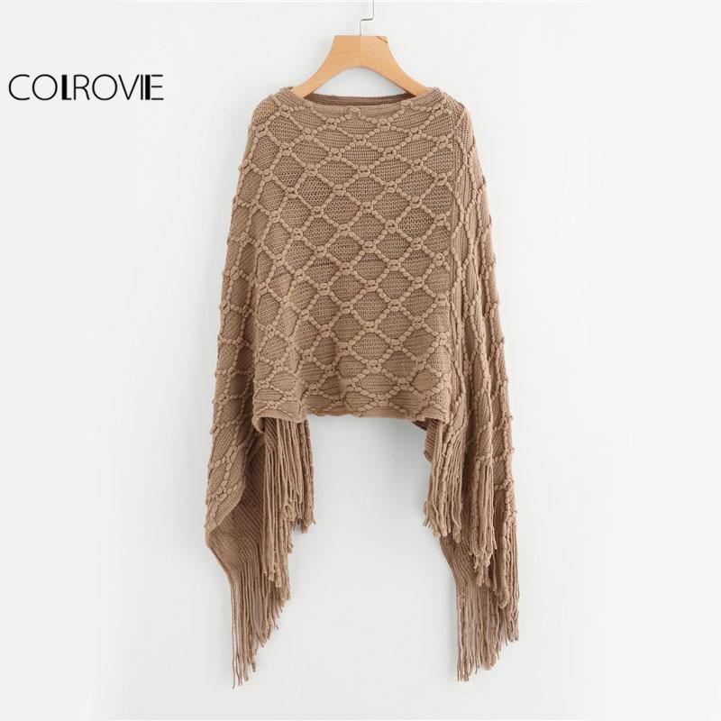 COLROVIE Fringe Hem Khaki Sweater Vintage Boho Poncho Fall Fashion Women Casual Tassel Cape Boat Neck Spring Loose Sweater