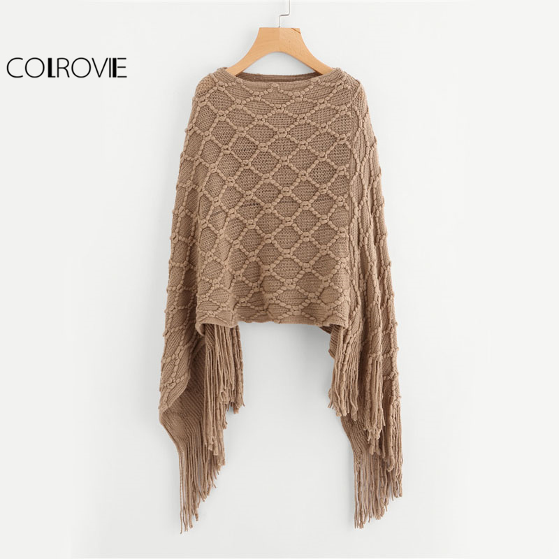 Aliexpress.com : Buy COLROVIE Fringe Hem Khaki Sweater ...