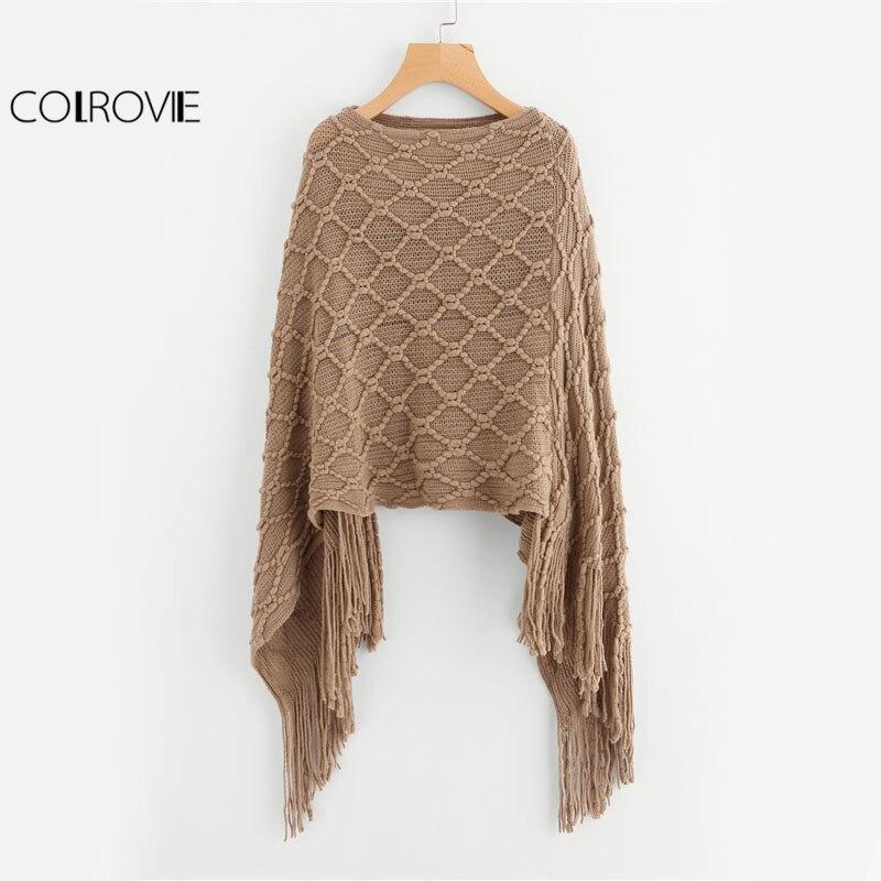 COLROVIE Fringe Oversized Khaki Sweater Vintage Boho Poncho Fall Fashion Women Casual Tassel Cape Boat Neck Spring Loose Sweater
