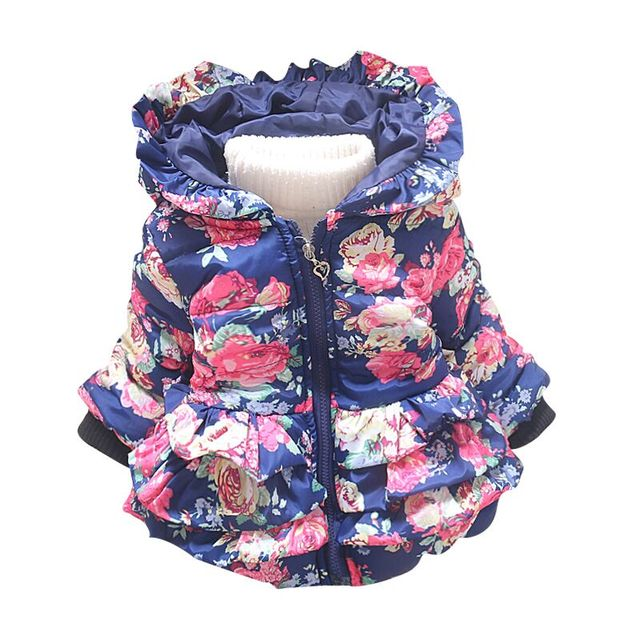 Nueva niña flor abrigos chaqueta niña prendas de vestir exteriores del otoño ropa infantil de Invierno los niños prendas de vestir exteriores de la Chaqueta Con Capucha