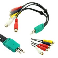 1pc 3.5mm + 2.5mm to 5RCA Audio Video AV Component Adapter Cable For Samsung LED LCD TV BN3901154W BN39-01154W 20cm