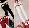 Princess sweet lolita BOBON21 winter Striped Decorative pattern show thin Sox baseball Above knee 4 kinds of color AC1122 CTW3-1