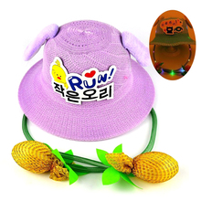 Newest Luminous Rabbit Ears Straw Hat Move Cute Bunny Fisher Funny Playtoy Ear Up Down Gift Sun for Kids Girls