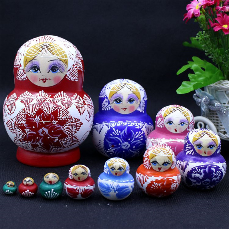 10 Layer Big Belly Matryoshka Doll Colorful Dry Basswood Handmade Crafts Painted Russian Nesting Dolls DIY Educational Toys L65