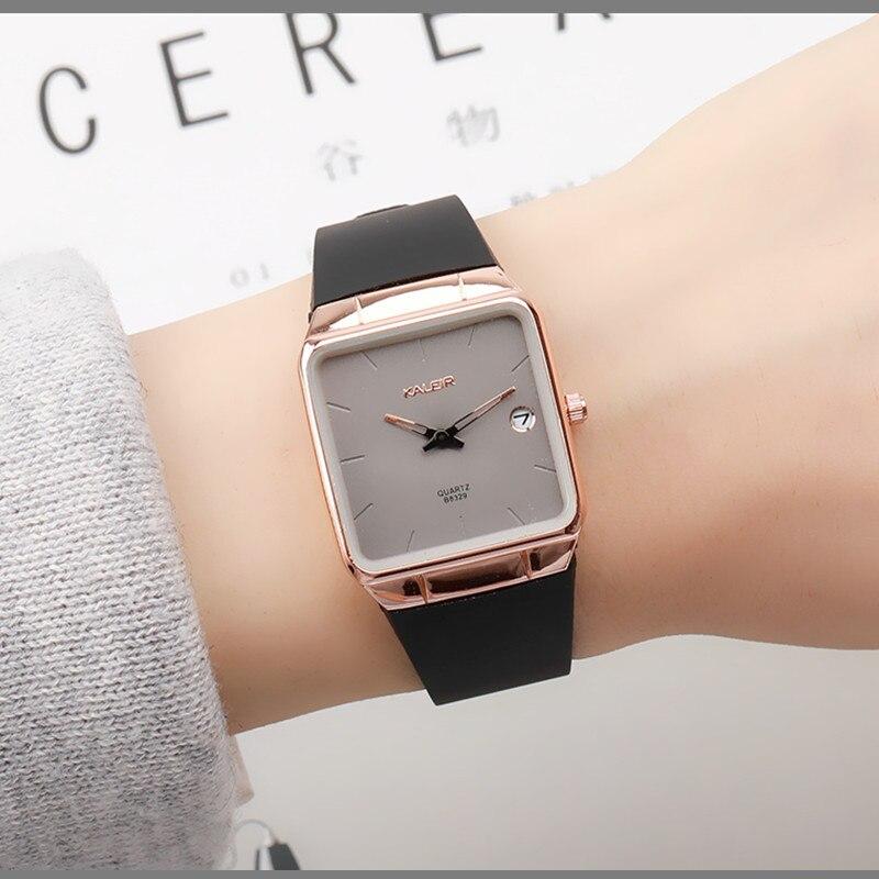 Top Brand Ultra Thin Fashion Dress Clock Female Ladies Luxury Gift Square Wrist watch Silicone Sports Calendar Quartz Watches