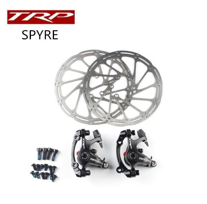 TRP Spyre route vélo vélo Alliage Frein À Disque Mécanique Set Avant et Arrière Comprennent 160mm Axe rotor