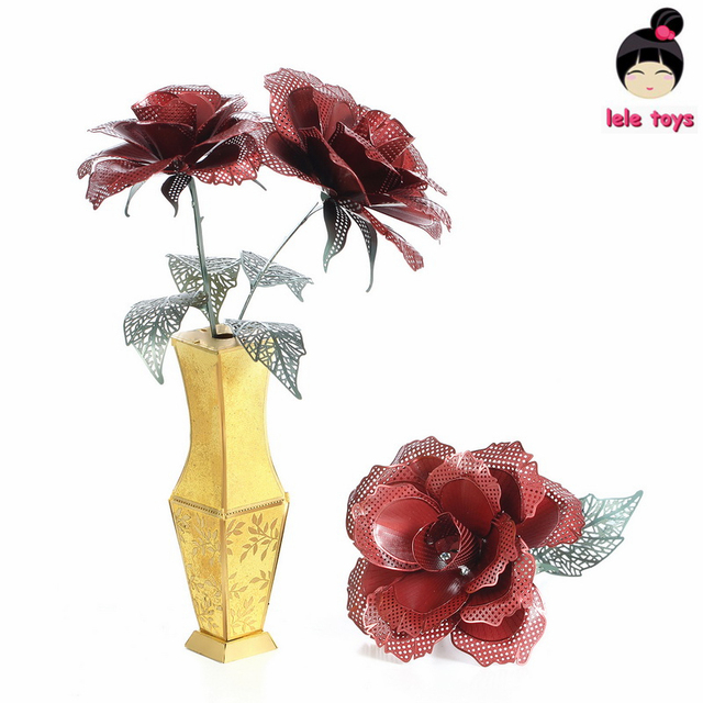 LELEOnline@DIY assembly 3D Metal Model Etching Puzzle Red rose Chinese Metal Earth Stainless Steel Creative Gifts ICONX