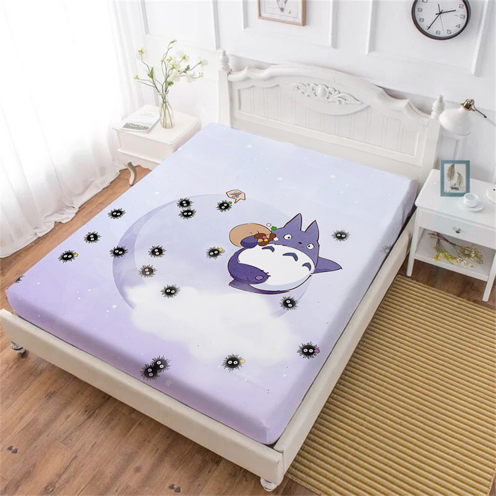 Totoro Bed Sheet Light Purple Cartoon Susuwatari Print Fitted Sheet Kids Lovely Bedding King Queen Bedclothes Home Decor D30
