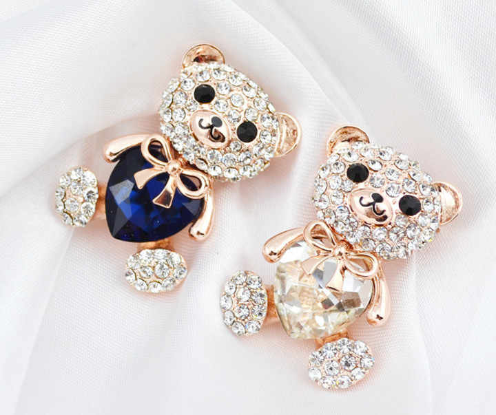 Cinkile 3 Warna Memilih Kristal Besar Jantung Beruang Bros Hewan Lucu Pin dan Bros untuk Wanita Fashion Perhiasan Pernikahan Hadiah