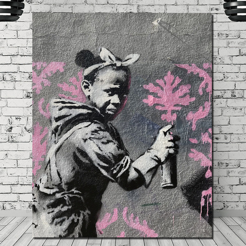 Banksy Graffiti Girl Painting Canvas Posters Prints Marble Wall Art Decorative Picture Modern Home Decoration