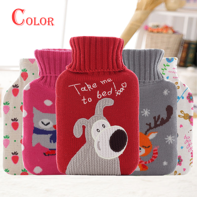 Hot Water Bottle Rubber Bag Hand Warmer Bottles Bags With Cover Cartoon Plush Warm Set Christmas Gift